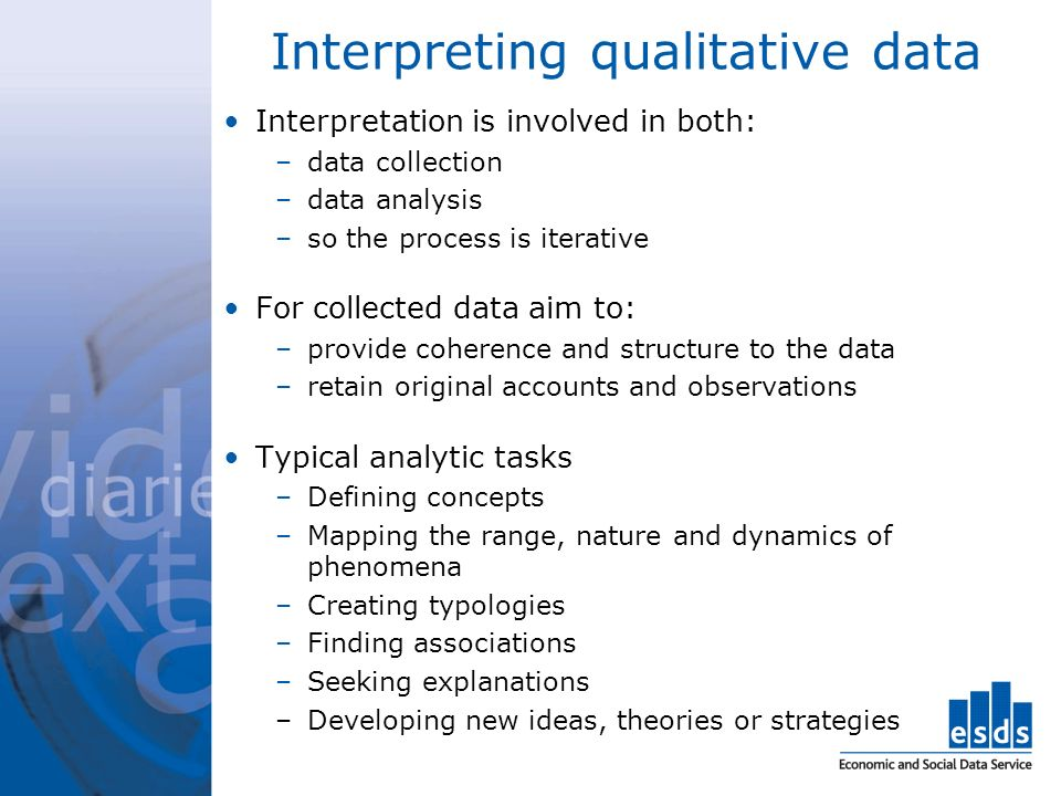 Interpreting qualitative data Interpretation is involved in both: –data collection –data analysis –so the process is iterative For collected data aim to: –provide coherence and structure to the data –retain original accounts and observations Typical analytic tasks –Defining concepts –Mapping the range, nature and dynamics of phenomena –Creating typologies –Finding associations –Seeking explanations –Developing new ideas, theories or strategies