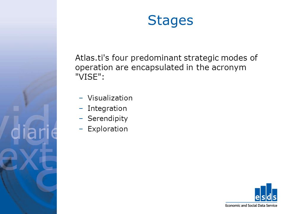 Stages Atlas.ti s four predominant strategic modes of operation are encapsulated in the acronym VISE : –Visualization –Integration –Serendipity –Exploration