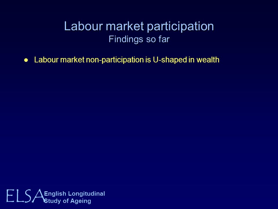 ELSA English Longitudinal Study of Ageing Labour market participation Findings so far Labour market non-participation is U-shaped in wealth
