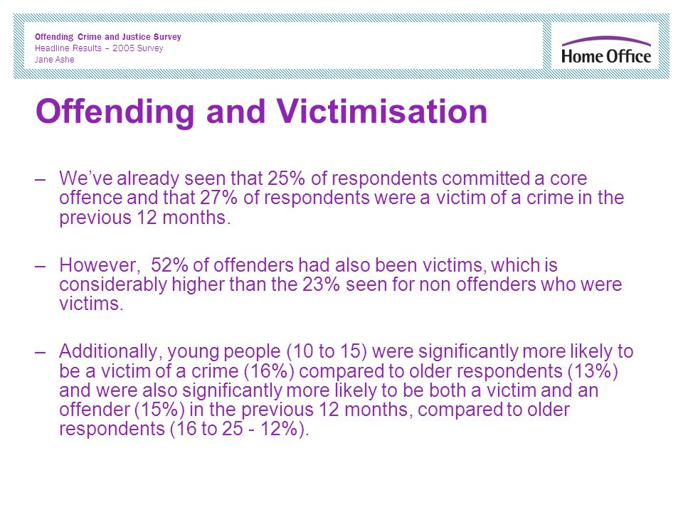 Offending Crime and Justice Survey Headline Results – 2005 Survey Jane Ashe Offending and Victimisation –Weve already seen that 25% of respondents committed a core offence and that 27% of respondents were a victim of a crime in the previous 12 months.