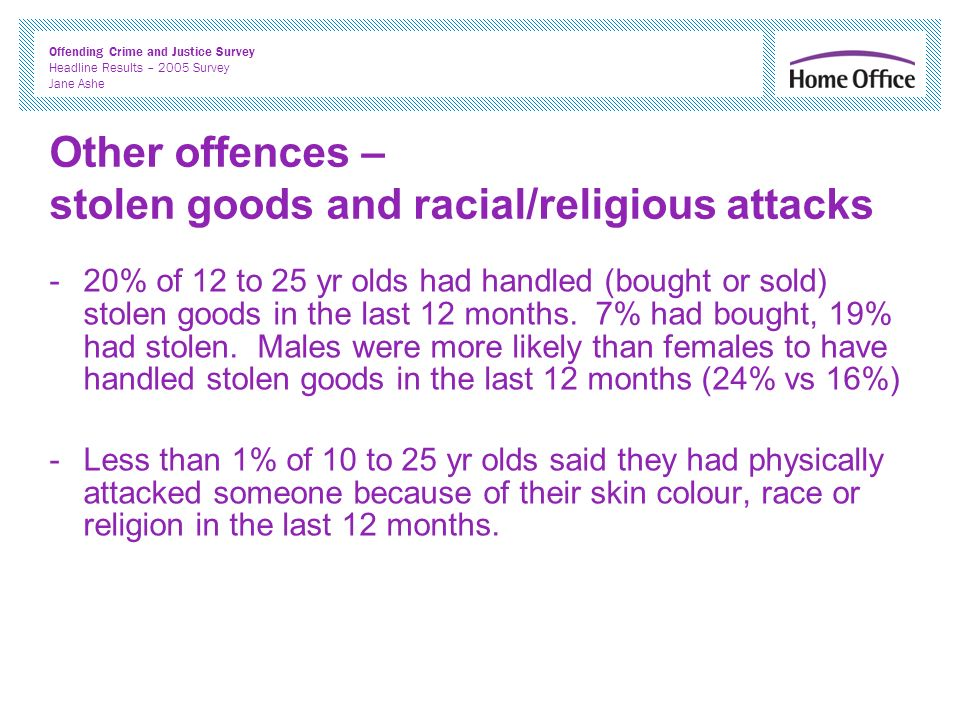 Offending Crime and Justice Survey Headline Results – 2005 Survey Jane Ashe Other offences – stolen goods and racial/religious attacks -20% of 12 to 25 yr olds had handled (bought or sold) stolen goods in the last 12 months.