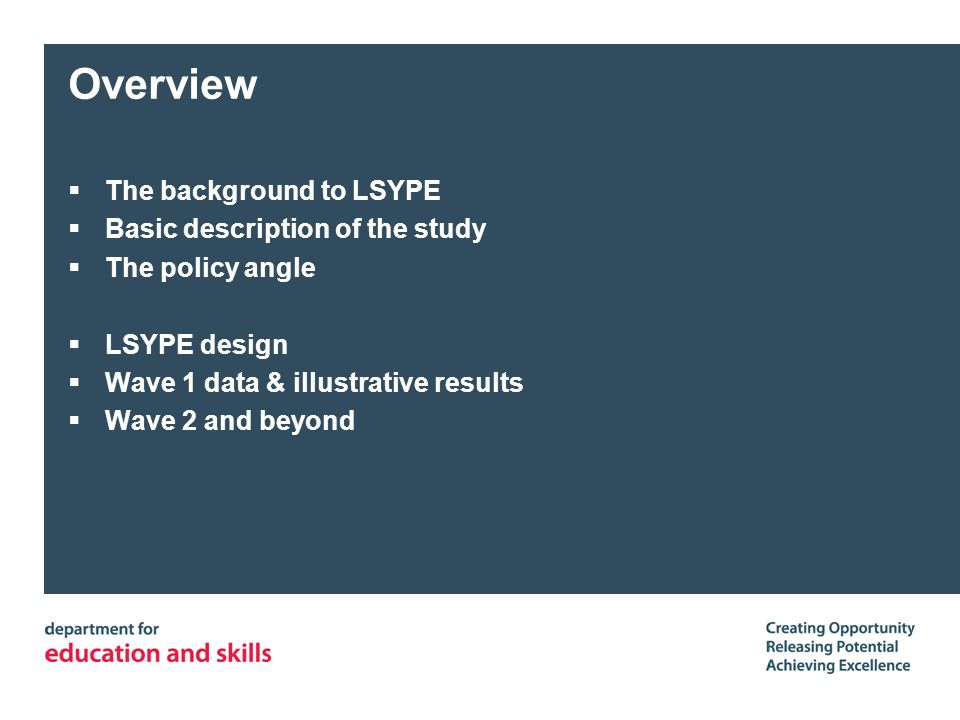 Overview The background to LSYPE Basic description of the study The policy angle LSYPE design Wave 1 data & illustrative results Wave 2 and beyond