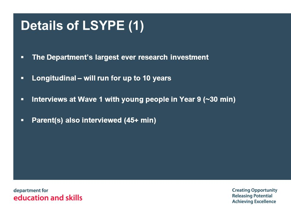 Details of LSYPE (1) The Departments largest ever research investment Longitudinal – will run for up to 10 years Interviews at Wave 1 with young people in Year 9 (~30 min) Parent(s) also interviewed (45+ min)