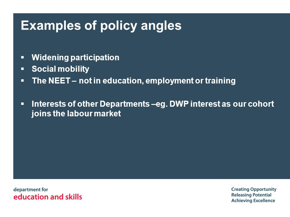 Examples of policy angles Widening participation Social mobility The NEET – not in education, employment or training Interests of other Departments –eg.
