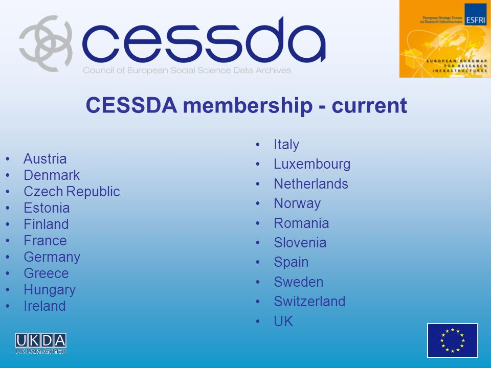 CESSDA membership - current Italy Luxembourg Netherlands Norway Romania Slovenia Spain Sweden Switzerland UK Austria Denmark Czech Republic Estonia Finland France Germany Greece Hungary Ireland