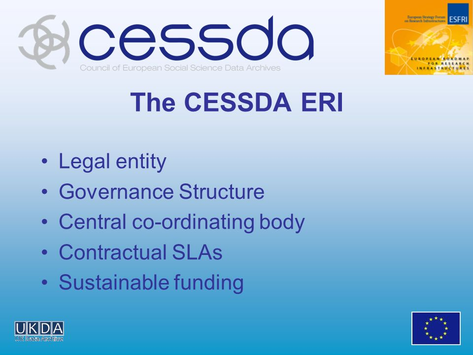 The CESSDA ERI Legal entity Governance Structure Central co-ordinating body Contractual SLAs Sustainable funding