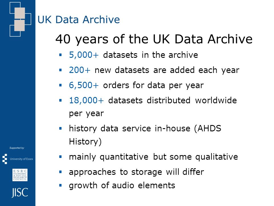 40 years of the UK Data Archive 5,000+ datasets in the archive 200+ new datasets are added each year 6,500+ orders for data per year 18,000+ datasets distributed worldwide per year history data service in-house (AHDS History) mainly quantitative but some qualitative approaches to storage will differ growth of audio elements