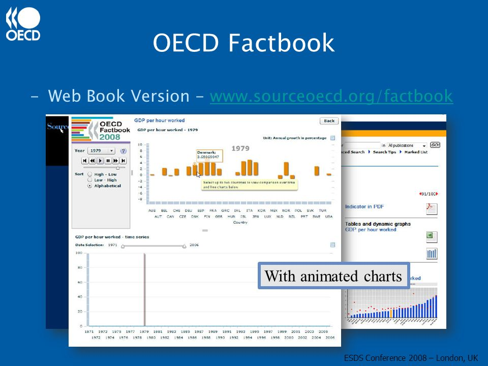 OECD Factbook -Web Book Version - www.sourceoecd.org/factbookwww.sourceoecd.org/factbook With animated charts ESDS Conference 2008 – London, UK