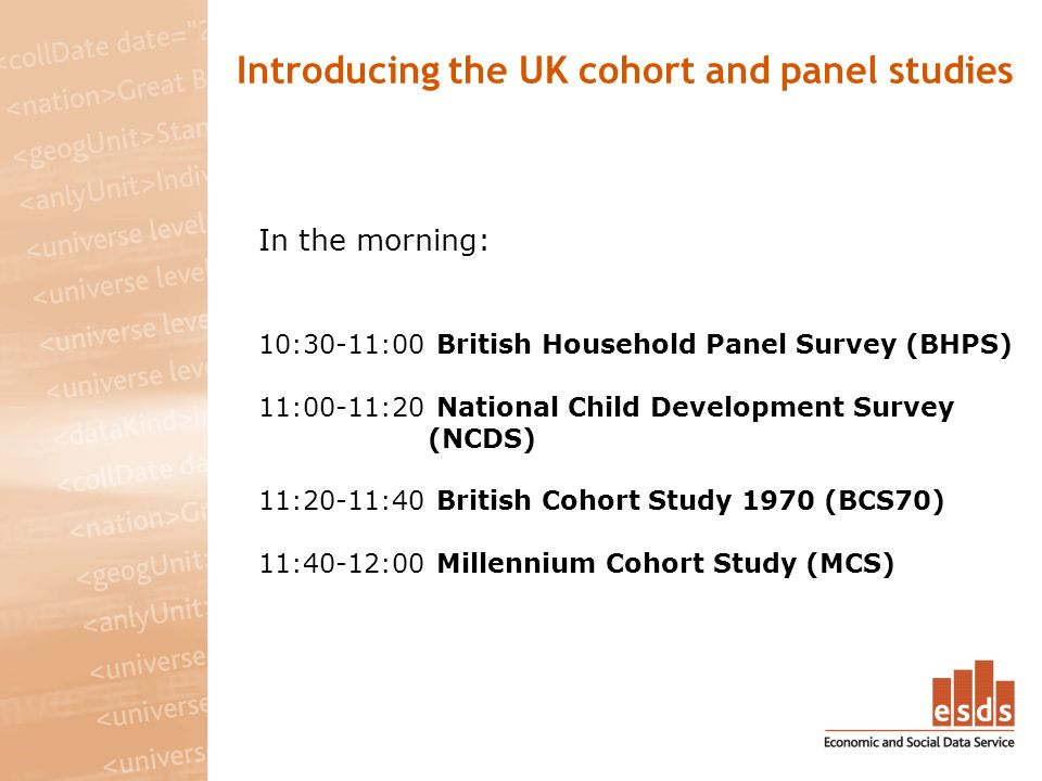 Introducing the UK cohort and panel studies In the morning: 10:30-11:00 British Household Panel Survey (BHPS) 11:00-11:20 National Child Development Survey (NCDS) 11:20-11:40 British Cohort Study 1970 (BCS70) 11:40-12:00 Millennium Cohort Study (MCS)