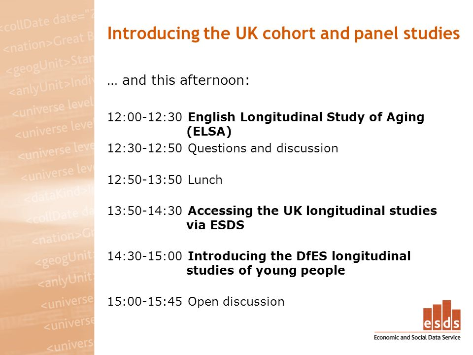 Introducing the UK cohort and panel studies … and this afternoon: 12:00-12:30 English Longitudinal Study of Aging (ELSA) 12:30-12:50 Questions and discussion 12:50-13:50 Lunch 13:50-14:30 Accessing the UK longitudinal studies via ESDS 14:30-15:00 Introducing the DfES longitudinal studies of young people 15:00-15:45 Open discussion