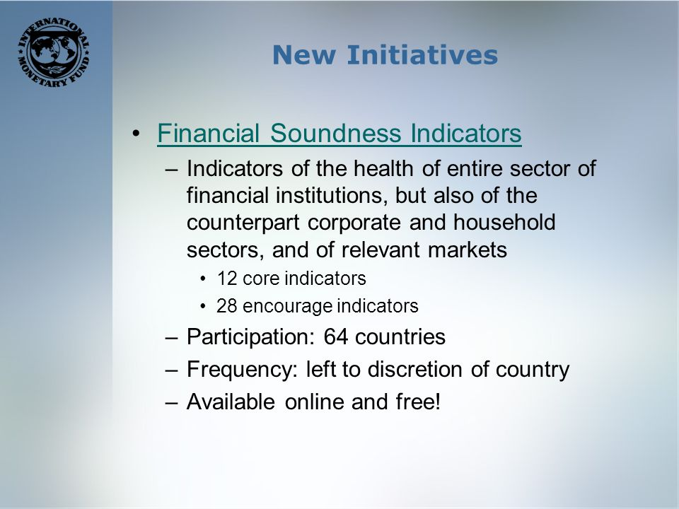 New Initiatives Financial Soundness Indicators –Indicators of the health of entire sector of financial institutions, but also of the counterpart corporate and household sectors, and of relevant markets 12 core indicators 28 encourage indicators –Participation: 64 countries –Frequency: left to discretion of country –Available online and free!