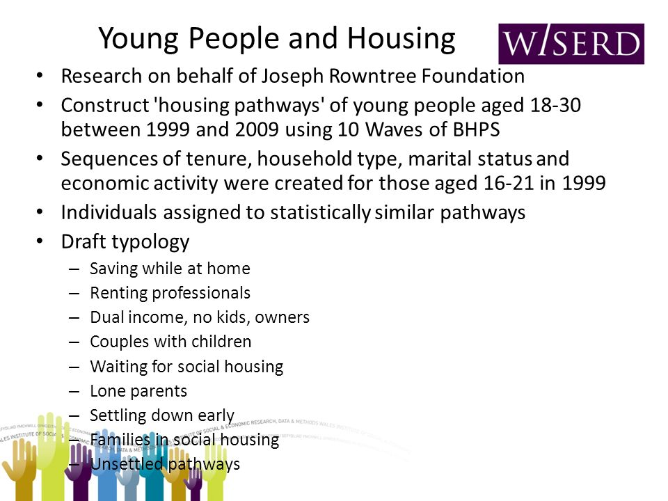 Young People and Housing Research on behalf of Joseph Rowntree Foundation Construct housing pathways of young people aged 18-30 between 1999 and 2009 using 10 Waves of BHPS Sequences of tenure, household type, marital status and economic activity were created for those aged 16-21 in 1999 Individuals assigned to statistically similar pathways Draft typology – Saving while at home – Renting professionals – Dual income, no kids, owners – Couples with children – Waiting for social housing – Lone parents – Settling down early – Families in social housing – Unsettled pathways