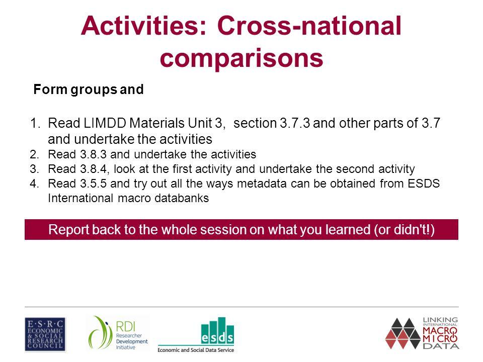Making cross-national comparisons using macro data Unit 2