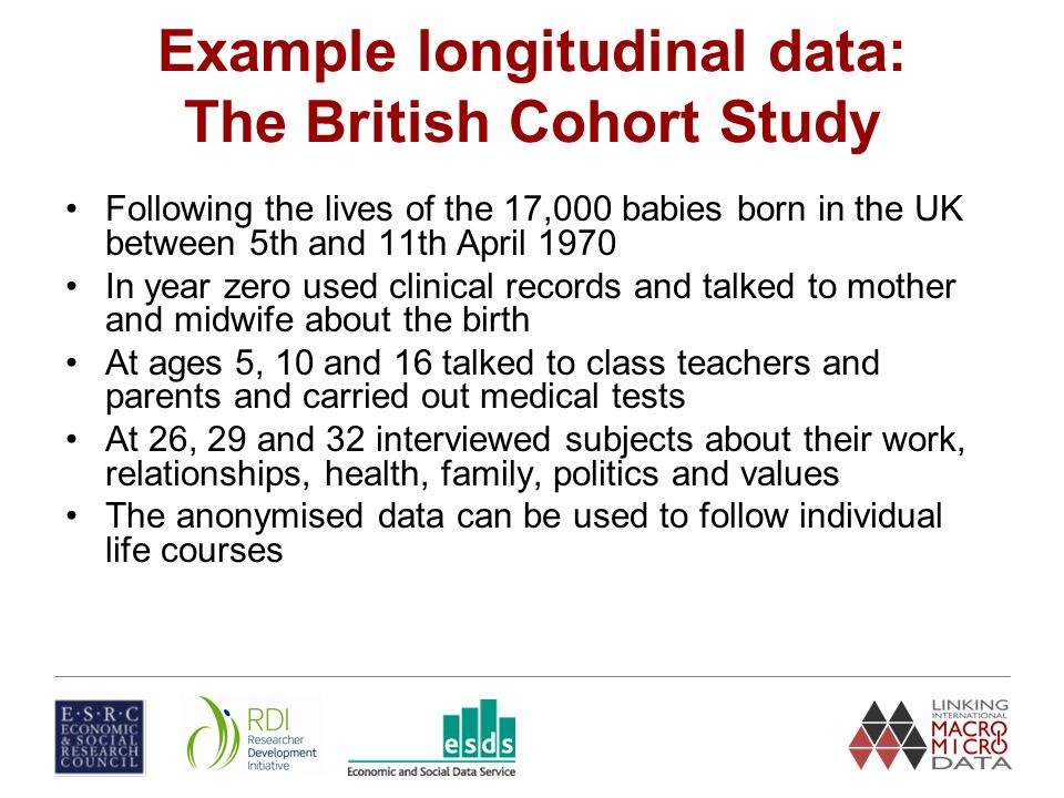 Example longitudinal data: The British Cohort Study Following the lives of the 17,000 babies born in the UK between 5th and 11th April 1970 In year zero used clinical records and talked to mother and midwife about the birth At ages 5, 10 and 16 talked to class teachers and parents and carried out medical tests At 26, 29 and 32 interviewed subjects about their work, relationships, health, family, politics and values The anonymised data can be used to follow individual life courses