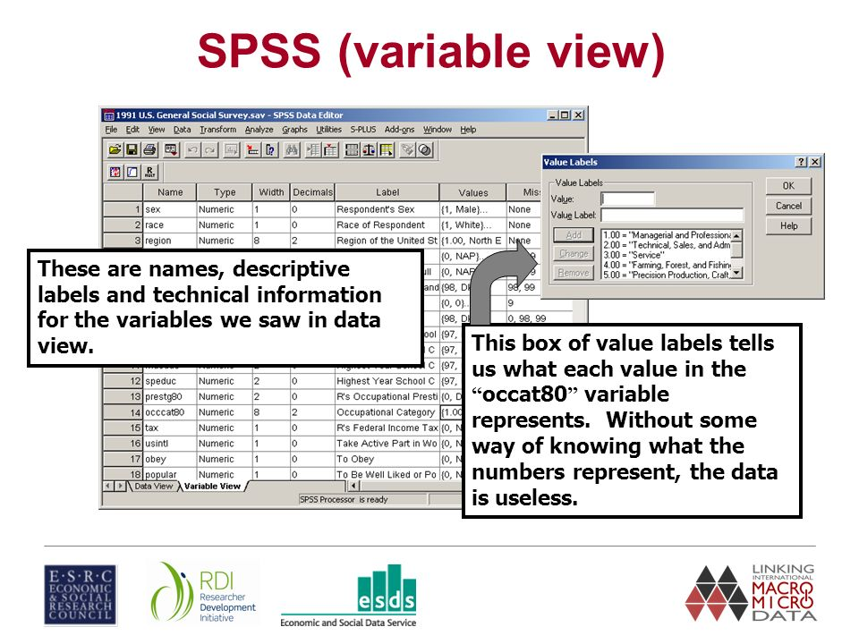 These are names, descriptive labels and technical information for the variables we saw in data view.