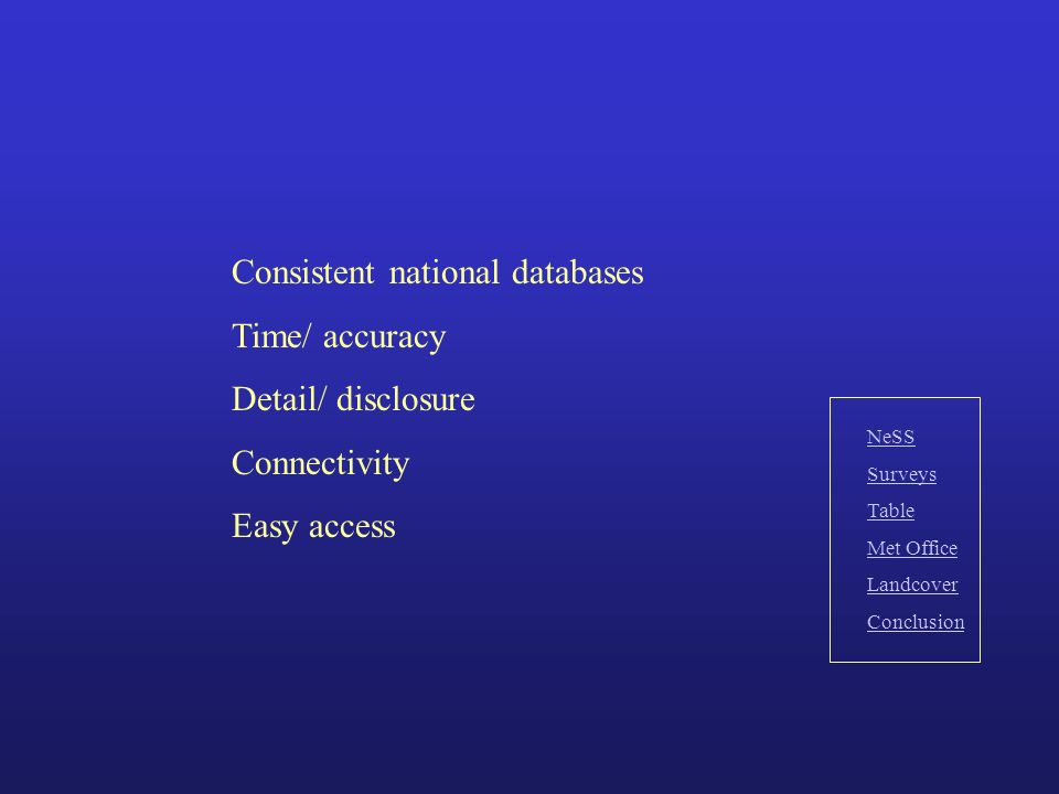 Consistent national databases Time/ accuracy Detail/ disclosure Connectivity Easy access NeSS Surveys Table Met Office Landcover Conclusion