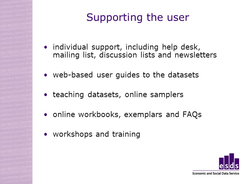 Supporting the user individual support, including help desk, mailing list, discussion lists and newsletters web-based user guides to the datasets teaching datasets, online samplers online workbooks, exemplars and FAQs workshops and training