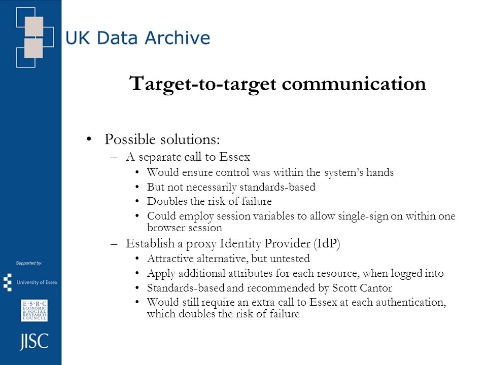 Target-to-target communication Possible solutions: –A separate call to Essex Would ensure control was within the systems hands But not necessarily standards-based Doubles the risk of failure Could employ session variables to allow single-sign on within one browser session –Establish a proxy Identity Provider (IdP) Attractive alternative, but untested Apply additional attributes for each resource, when logged into Standards-based and recommended by Scott Cantor Would still require an extra call to Essex at each authentication, which doubles the risk of failure