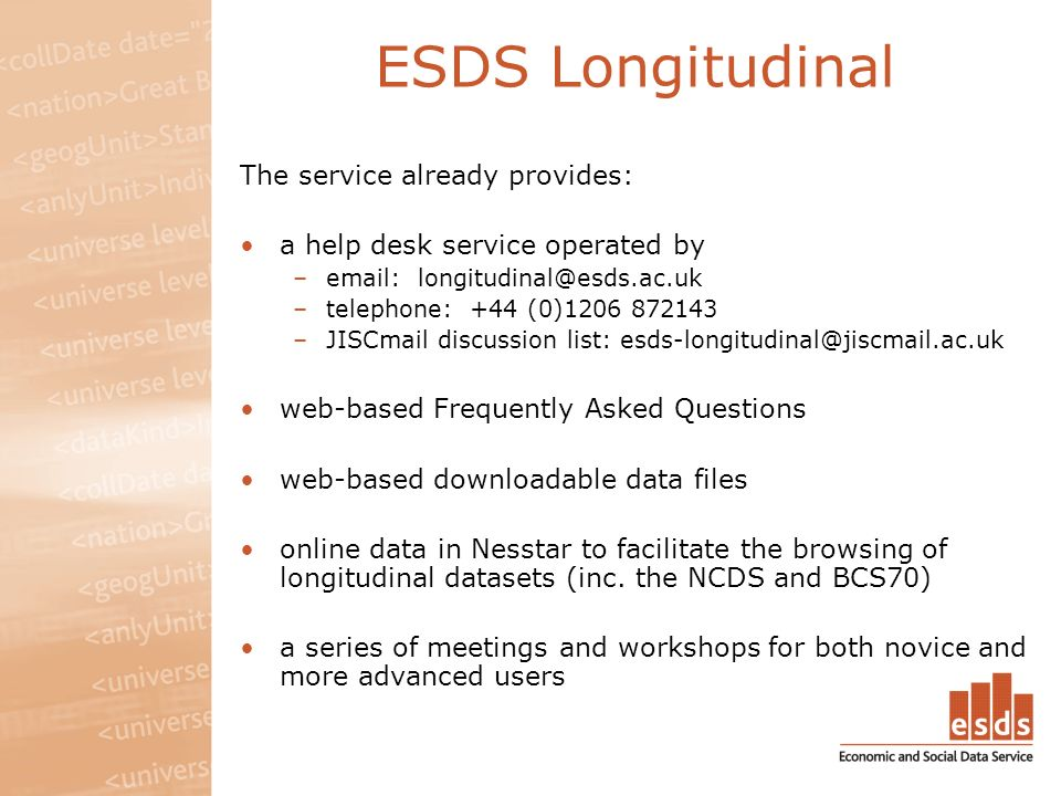 ESDS Longitudinal The service already provides: a help desk service operated by –email: longitudinal@esds.ac.uk –telephone: +44 (0)1206 872143 –JISCmail discussion list: esds-longitudinal@jiscmail.ac.uk web-based Frequently Asked Questions web-based downloadable data files online data in Nesstar to facilitate the browsing of longitudinal datasets (inc.
