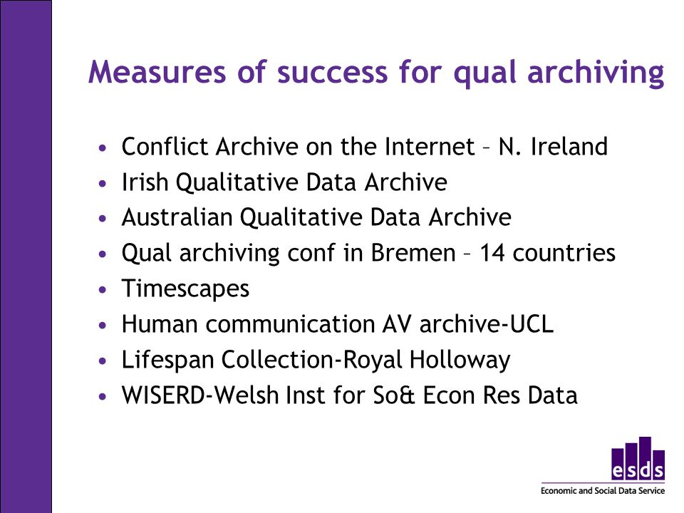 Measures of success for qual archiving Conflict Archive on the Internet – N.