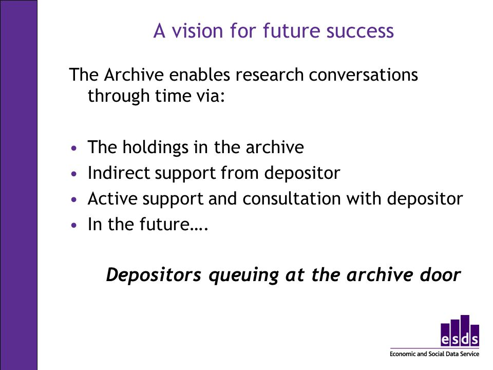 A vision for future success The Archive enables research conversations through time via: The holdings in the archive Indirect support from depositor Active support and consultation with depositor In the future….