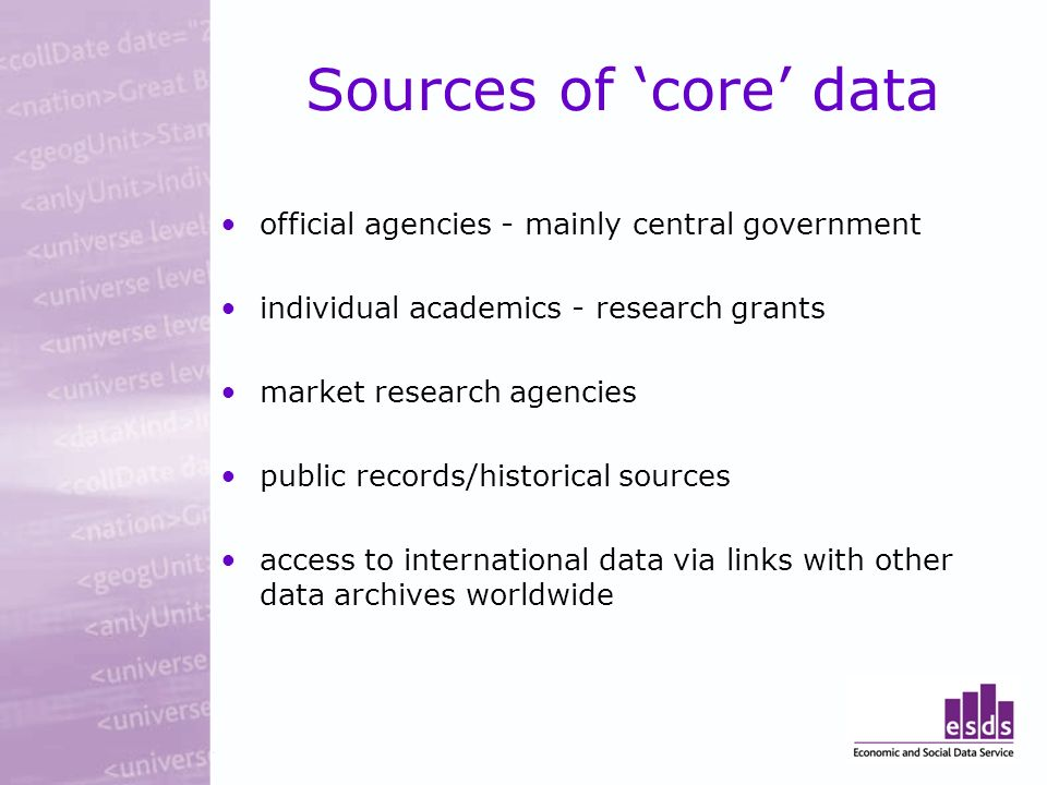 Sources of core data official agencies - mainly central government individual academics - research grants market research agencies public records/historical sources access to international data via links with other data archives worldwide