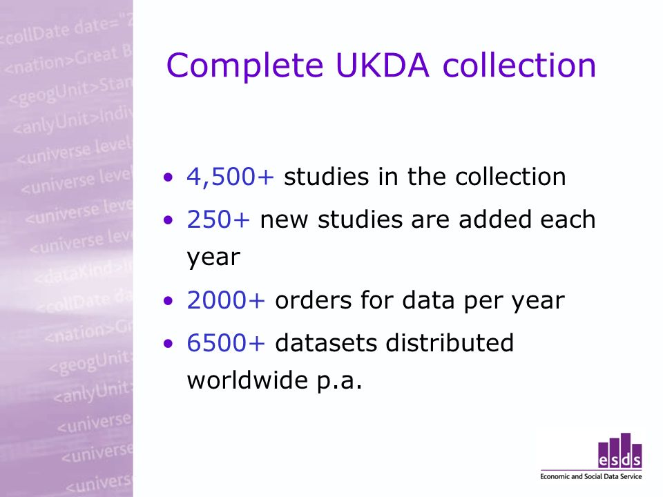 Complete UKDA collection 4,500+ studies in the collection 250+ new studies are added each year 2000+ orders for data per year 6500+ datasets distributed worldwide p.a.