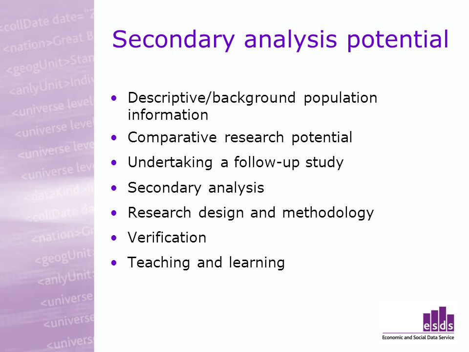 Secondary analysis potential Descriptive/background population information Comparative research potential Undertaking a follow-up study Secondary analysis Research design and methodology Verification Teaching and learning