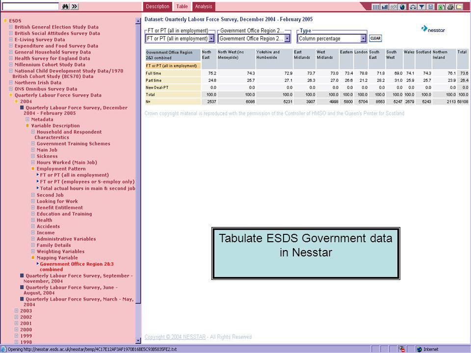 Tabulate ESDS Government data in Nesstar