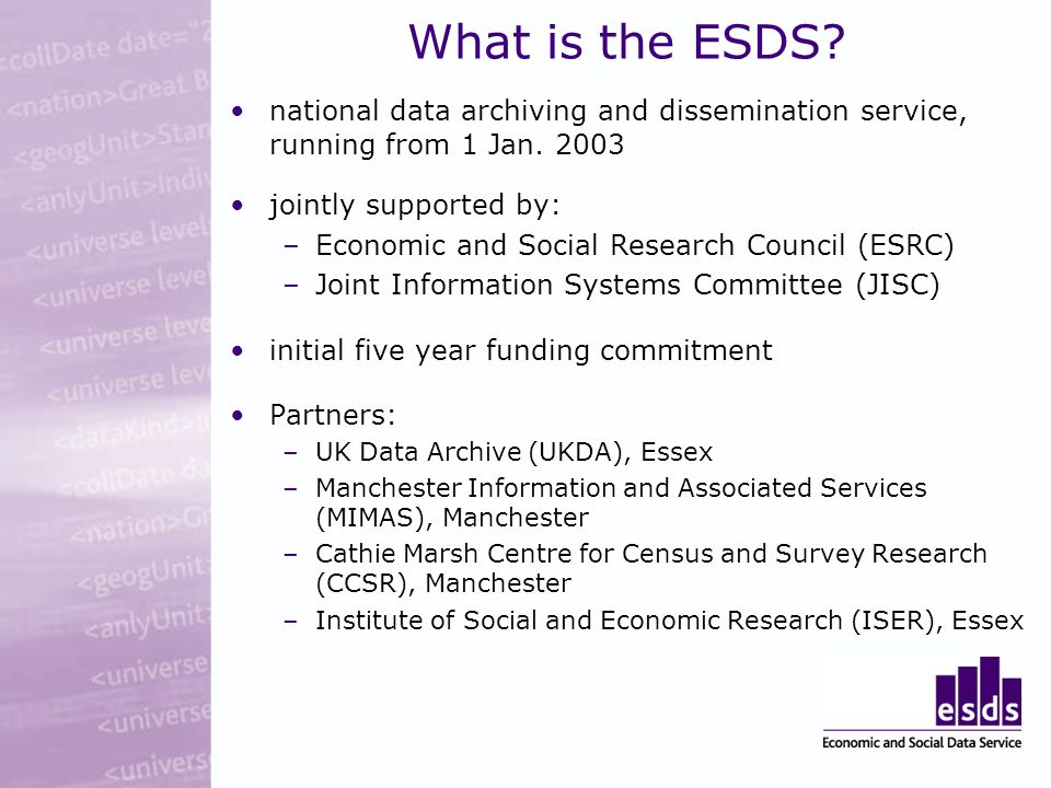 What is the ESDS. national data archiving and dissemination service, running from 1 Jan.