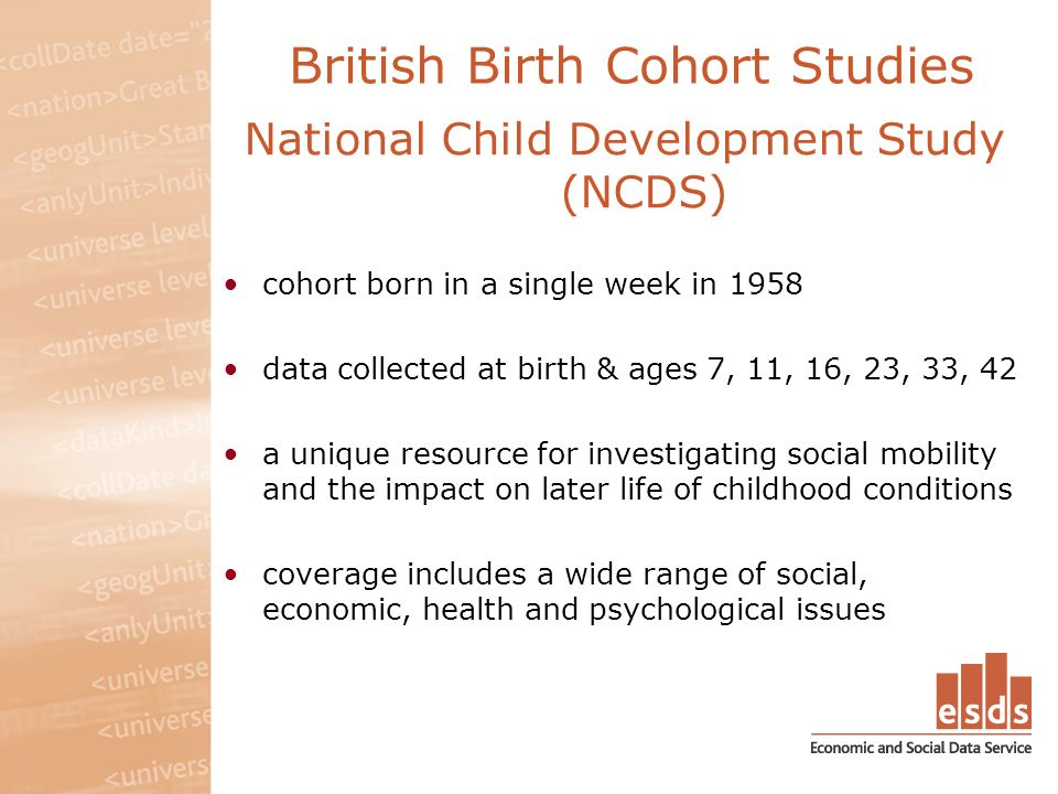 British Birth Cohort Studies National Child Development Study (NCDS) cohort born in a single week in 1958 data collected at birth & ages 7, 11, 16, 23, 33, 42 a unique resource for investigating social mobility and the impact on later life of childhood conditions coverage includes a wide range of social, economic, health and psychological issues