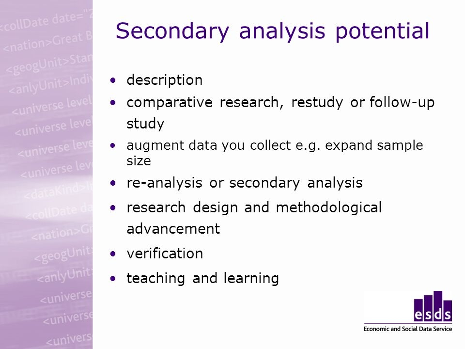 Secondary analysis potential description comparative research, restudy or follow-up study augment data you collect e.g.
