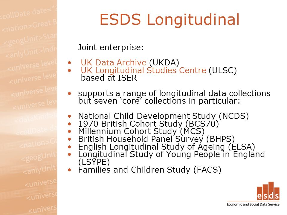 ESDS Longitudinal Joint enterprise: UK Data Archive (UKDA) UK Longitudinal Studies Centre (ULSC) based at ISER supports a range of longitudinal data collections but seven core collections in particular: National Child Development Study (NCDS) 1970 British Cohort Study (BCS70) Millennium Cohort Study (MCS) British Household Panel Survey (BHPS) English Longitudinal Study of Ageing (ELSA) Longitudinal Study of Young People in England (LSYPE) Families and Children Study (FACS)