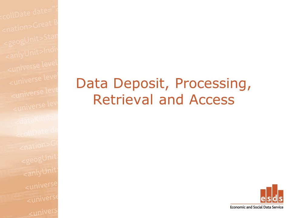 Data Deposit, Processing, Retrieval and Access