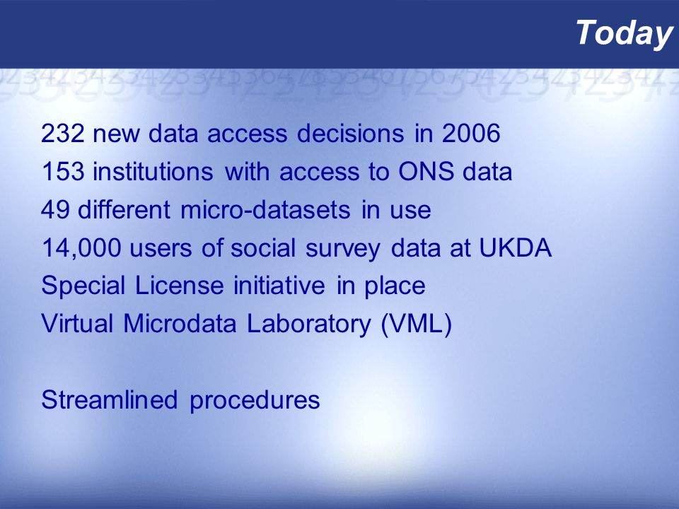 Today 232 new data access decisions in 2006 153 institutions with access to ONS data 49 different micro-datasets in use 14,000 users of social survey data at UKDA Special License initiative in place Virtual Microdata Laboratory (VML) Streamlined procedures