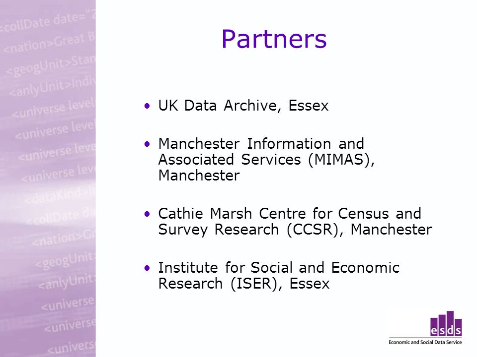 UK Data Archive, Essex Manchester Information and Associated Services (MIMAS), Manchester Cathie Marsh Centre for Census and Survey Research (CCSR), Manchester Institute for Social and Economic Research (ISER), Essex Partners