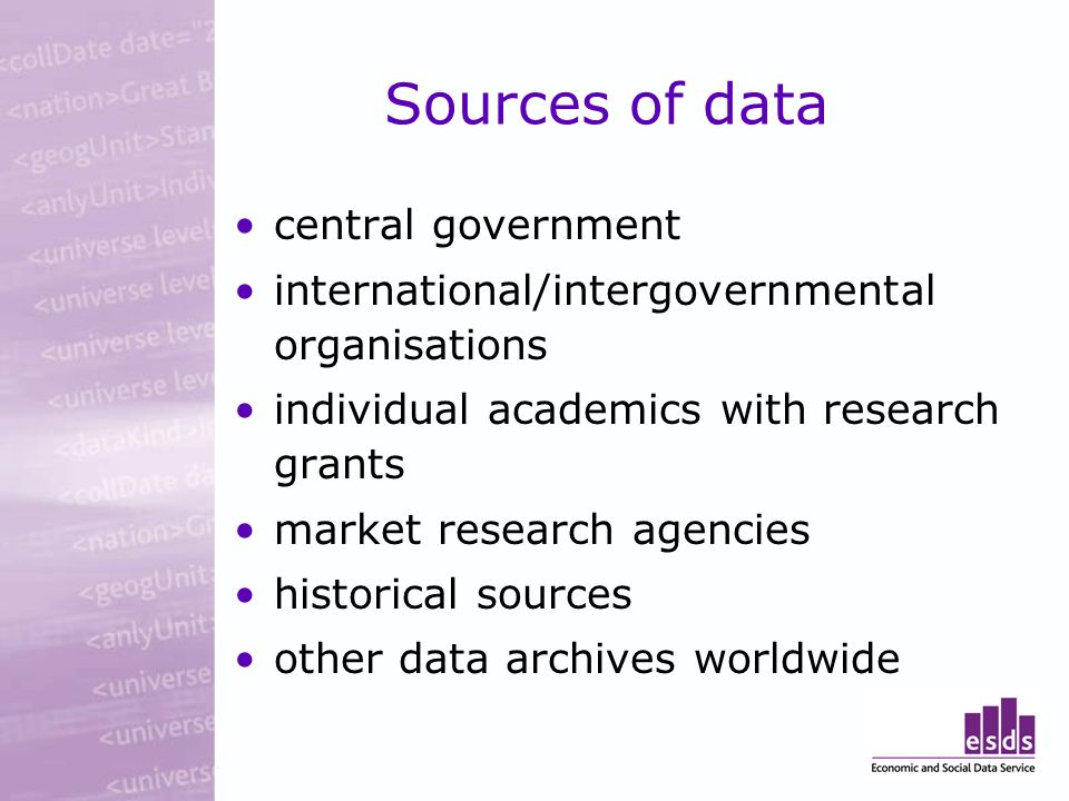 Sources of data central government international/intergovernmental organisations individual academics with research grants market research agencies historical sources other data archives worldwide