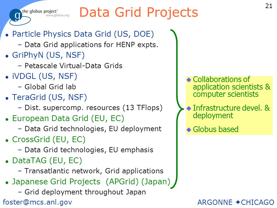 21 foster@mcs.anl.gov ARGONNE CHICAGO Data Grid Projects l Particle Physics Data Grid (US, DOE) –Data Grid applications for HENP expts.