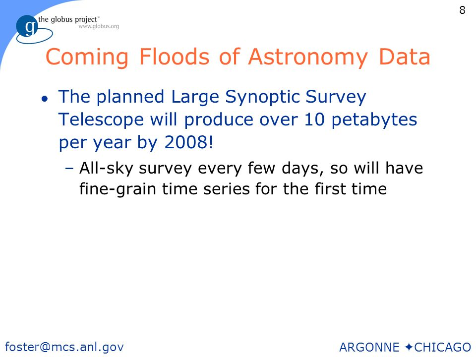 8 foster@mcs.anl.gov ARGONNE CHICAGO Coming Floods of Astronomy Data l The planned Large Synoptic Survey Telescope will produce over 10 petabytes per year by 2008.