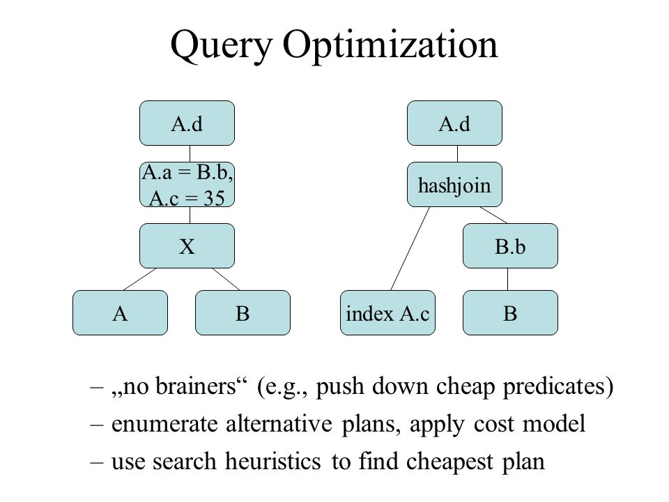 Query Optimization –no brainers (e.g., push down cheap predicates) –enumerate alternative plans, apply cost model –use search heuristics to find cheapest plan A.d A.a = B.b, A.c = 35 X AB A.d hashjoin B.b index A.cB