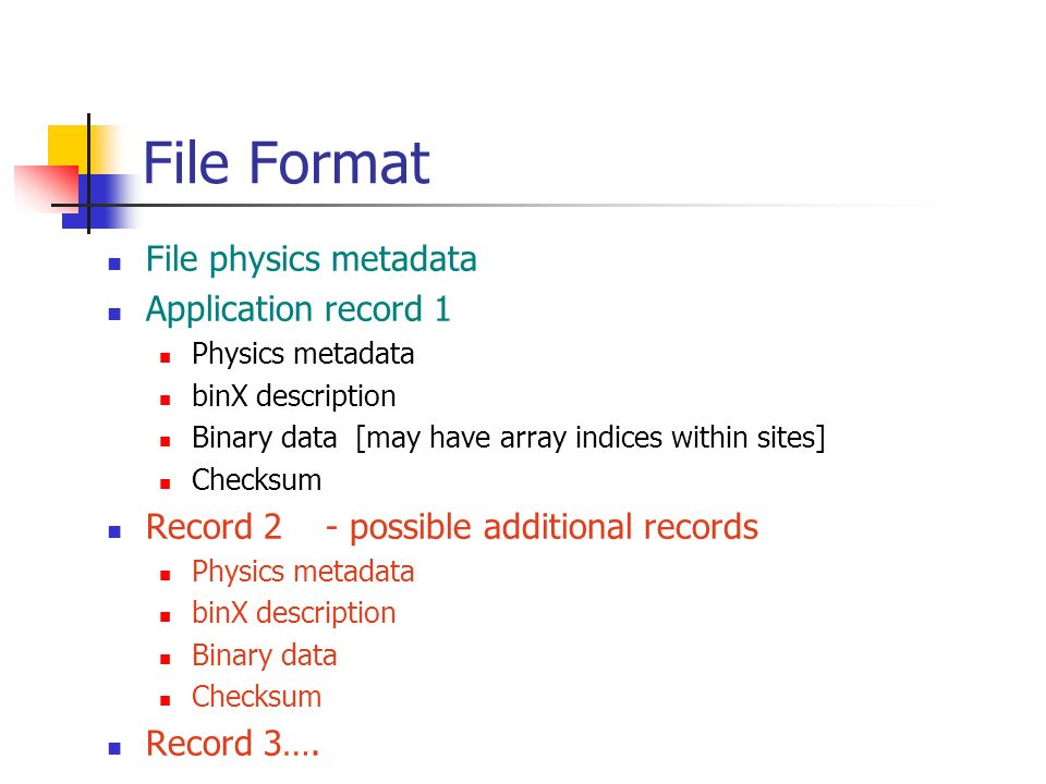 File Format File physics metadata Application record 1 Physics metadata binX description Binary data [may have array indices within sites] Checksum Record 2 - possible additional records Physics metadata binX description Binary data Checksum Record 3….