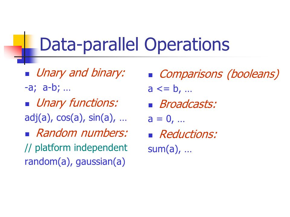 Data-parallel Operations Unary and binary: -a; a-b; … Unary functions: adj(a), cos(a), sin(a), … Random numbers: // platform independent random(a), gaussian(a) Comparisons (booleans) a <= b, … Broadcasts: a = 0, … Reductions: sum(a), …