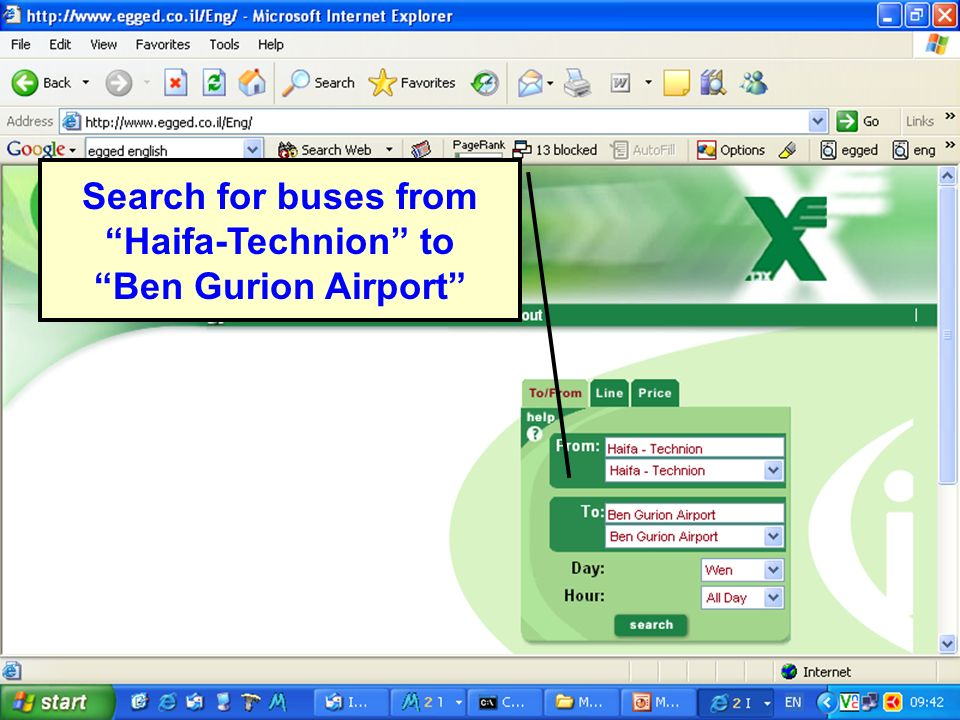 ICDT 2005 Search for buses from Haifa-Technion to Ben Gurion Airport