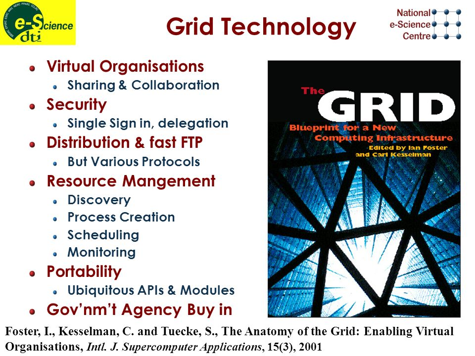 Grid Technology Virtual Organisations Sharing & Collaboration Security Single Sign in, delegation Distribution & fast FTP But Various Protocols Resource Mangement Discovery Process Creation Scheduling Monitoring Portability Ubiquitous APIs & Modules Govnmt Agency Buy in Foster, I., Kesselman, C.