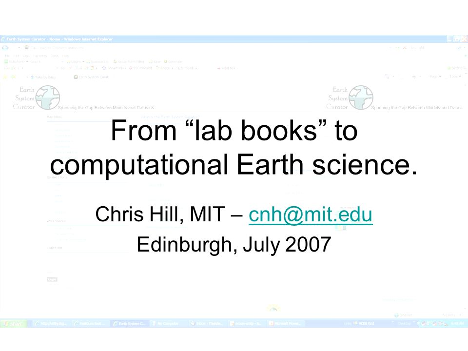 From lab books to computational Earth science.