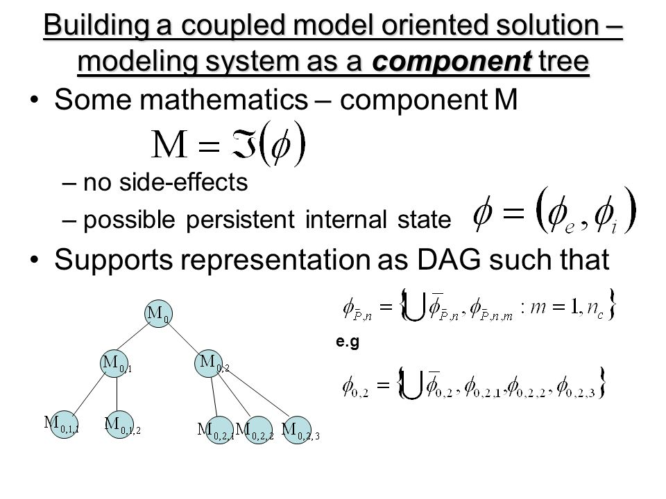 Building a coupled model oriented solution – modeling system as a component tree Some mathematics – component M –no side-effects –possible persistent internal state Supports representation as DAG such that e.g