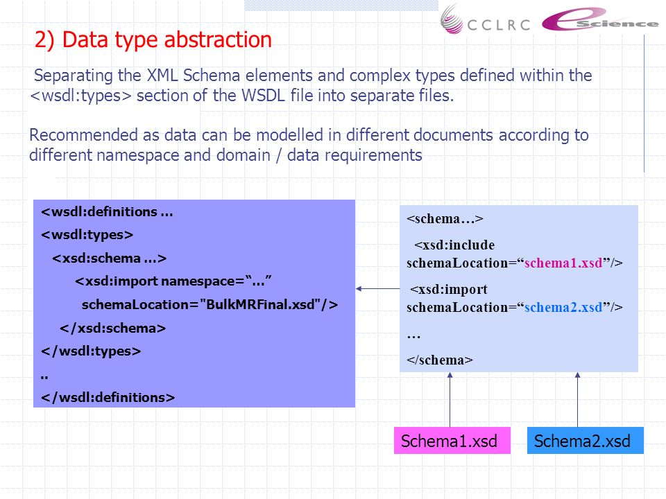 2) Data type abstraction Separating the XML Schema elements and complex types defined within the section of the WSDL file into separate files.