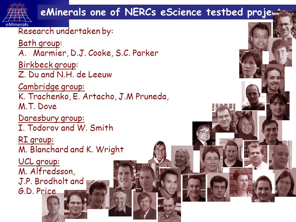 eMinerals one of NERCs eScience testbed projects Research undertaken by: Bath group: A.Marmier, D.J.