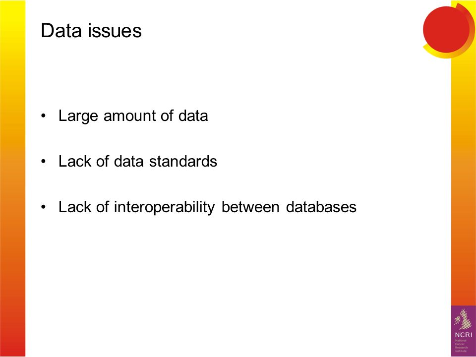 Data issues Large amount of data Lack of data standards Lack of interoperability between databases