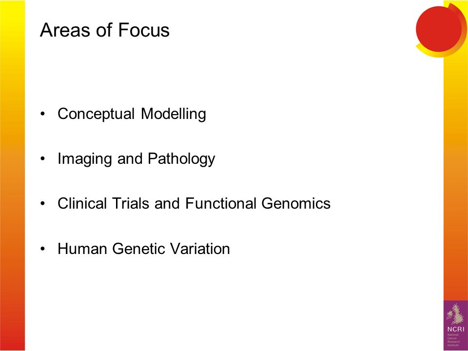 Areas of Focus Conceptual Modelling Imaging and Pathology Clinical Trials and Functional Genomics Human Genetic Variation